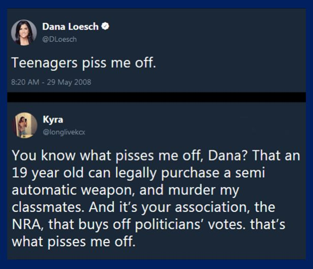 "Touche!  Also, Dana lied and upped her victim factor by saying the kids shouted ""burn her"" instead of ""shame on you"". Shows how overly-sensitive they are to be called out for being cimplicit in the murders of school children."