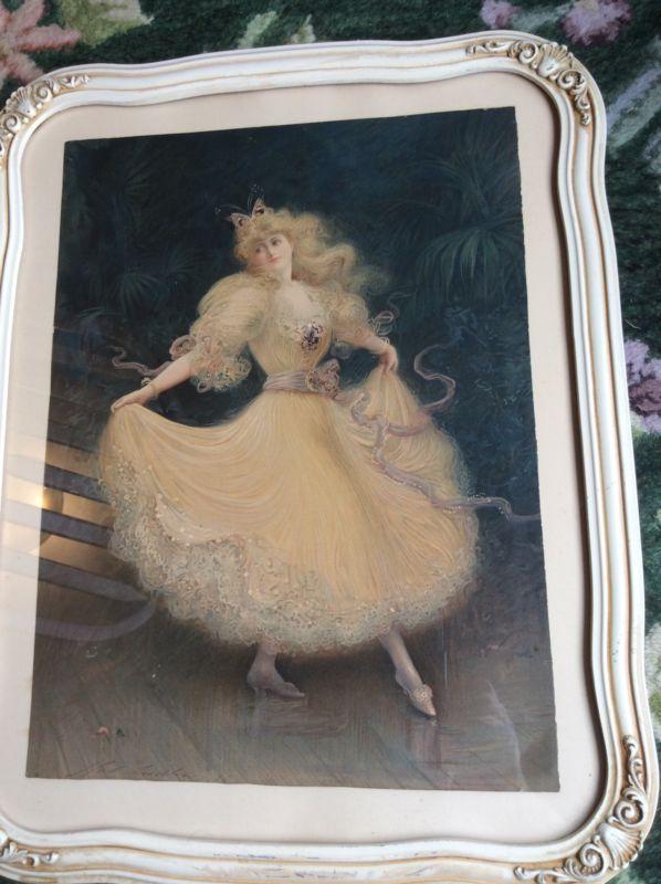 Original Vintage 1894 Hand Signed Hal Ludlow Lithograph Pink Dress Dancing Girl - http://art.goshoppins.com/prints/original-vintage-1894-hand-signed-hal-ludlow-lithograph-pink-dress-dancing-girl/
