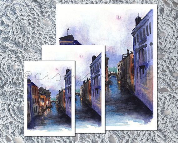 PRODUCT DETAILS  • Beautiful print of a watercolor painting of Venice, Italy at night. Comes in 3 easy to frame, standard sizes of 4x6 inches, 5x7 inches, 8x10 inches. 4x6 inch print also functions as a postcard!  • This piece is printed with high quality inks on matte archival quality