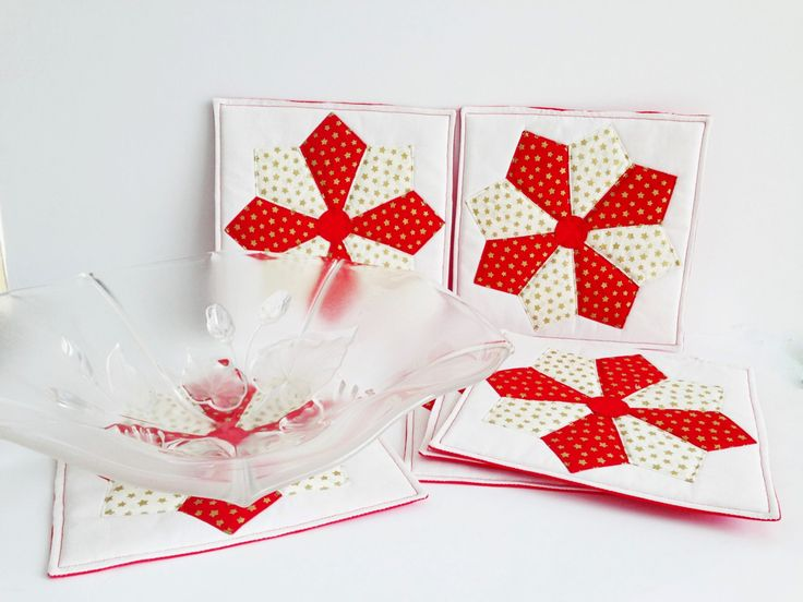 Christmas Table Coasters set of 6 Size 8 by 8 inches - Christmas Decoration - Dining Table Coasters Quilted coasters Christmas dinnerware (40.00 AUD) by AddaSplashofColour