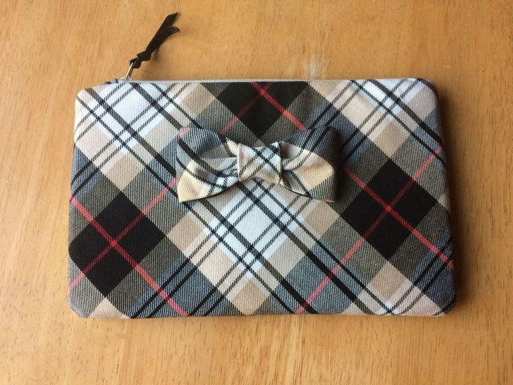 Cream white and black Tartan handmade  small size clutch/make up bag