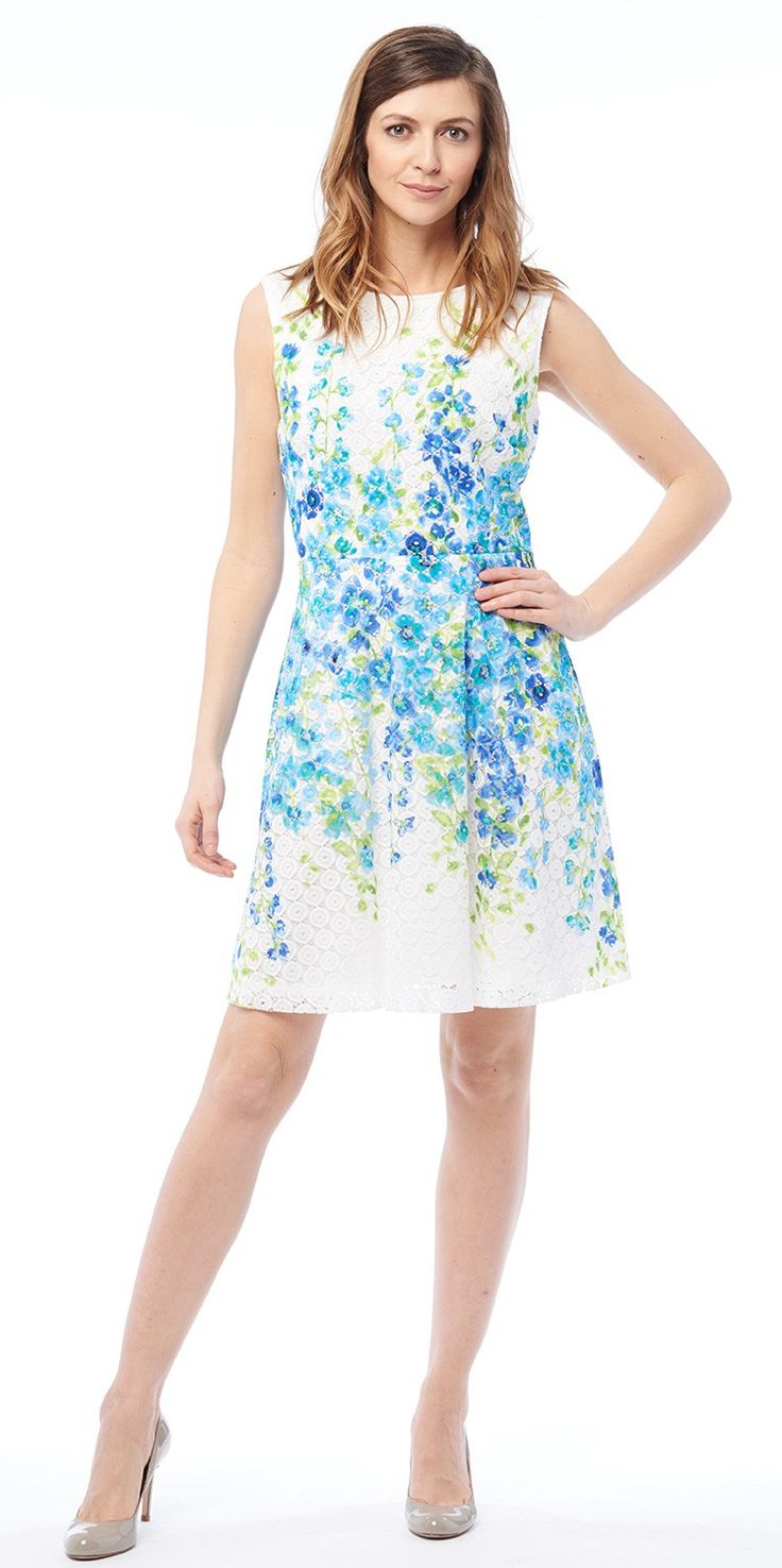 Sleeveless printed lace fit and flare dress by Sandra Darren