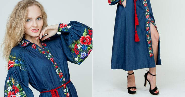 """Купить Вышитое джинсовое платье """"Яркая жизнь"""" ручная вышивка гладью - тёмно-синий, цветочный"""