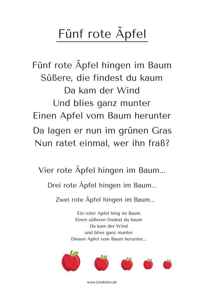10+ Ideen zu Gedicht Herbst auf Pinterest  Fingerspiel