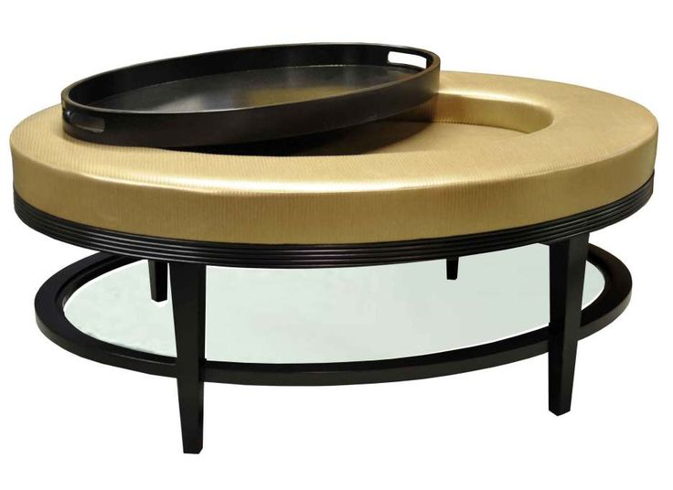 Round Black Wooden Frame Ottoman Coffee Table With Gold Leather Fabric  Single Tray With - 25+ Best Ideas About Round Leather Ottoman On Pinterest