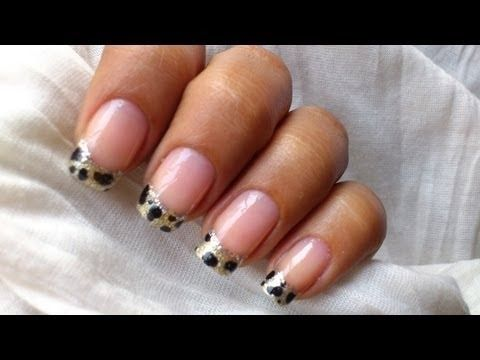 Leopard nail art tutorial In french tip nails designs for beginners cute nail polish ideas DIY