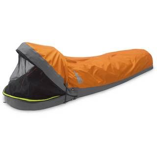 The spacious Outdoor Research Advanced Bivy™ can be used in place of a single tent.  FYI... it can also be used IN a three season tent to make it through WINTER camping...