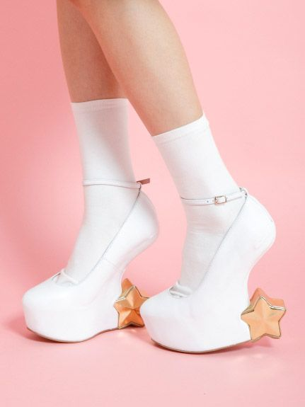 White gold star shoes heels no heel