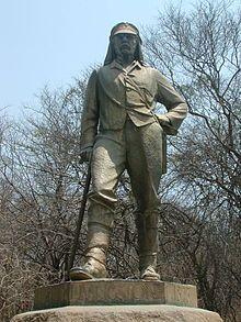 David Livingstone memorial at Victoria Falls, the first statue on the Zimbabwean side