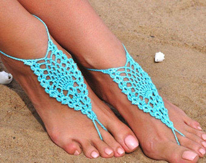 Crochet Aqua sandali a piedi nudi, piedi gioielli, regalo di damigella d'onore, a piedi nudi sandali, spiaggia, cavigliera, scarpe, matrimonio sulla spiaggia, estate scarpe da sposa