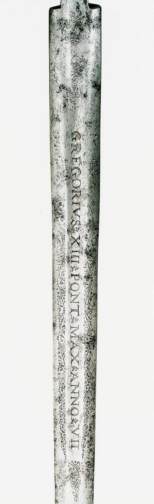 Blade of the consecrated sword presented by Pope Gregory XIII to Stephen Báthory from the State Treasury by Anonymous from Rome, before 1580, Zamek Królewski na Wawelu, given to the king in Vilnius in 1580 by Merkelis Giedraitis, Bishop of Samogitia