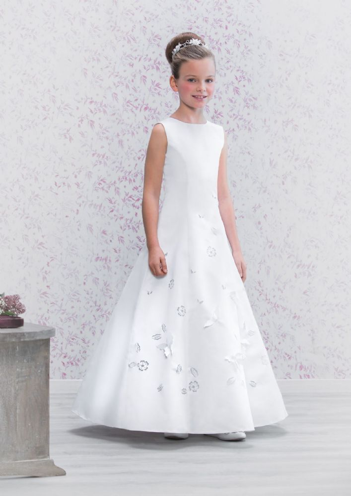Emmerling Communion Dress 70171 - New 2016 - White Satin A-line First Communion Dress with Butterflies - Sleeveless and Full Length - Girls Communion