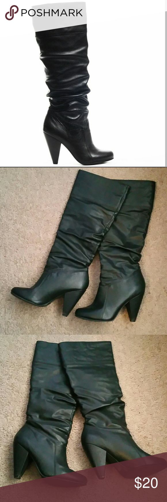 Jessica simpson boots Jessica simpson knee high boots, leather upper, sz 8, flaws shown in picture 5  (priced accordingly ) Jessica Simpson Shoes Heeled Boots