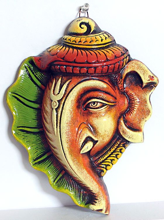 Ganesha on Conch - Wall Hanging (Terracotta))