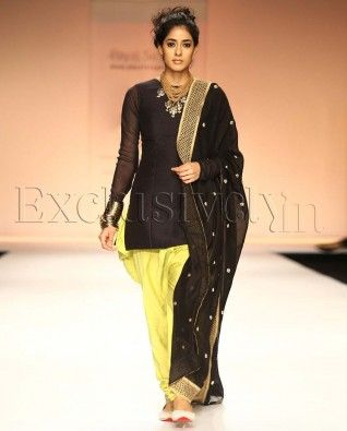 #Exclusivelyin, #IndianEthnicWear, #IndianWear, #Fashion, Diva Black Fitted Kurti With Kiwi Lime Jodhpur Pants