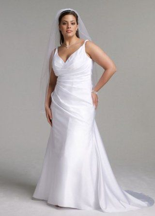 Satin Slim Wedding Dress with Twist Straps and Side Drape  *** click the picture to learn more...