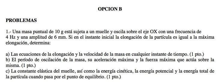 Ejercicio de Movimiento Ondulatorio propuesto en el examen PAU de Canarias de 2010-2011, Setiembre, Fase General. Opción B.