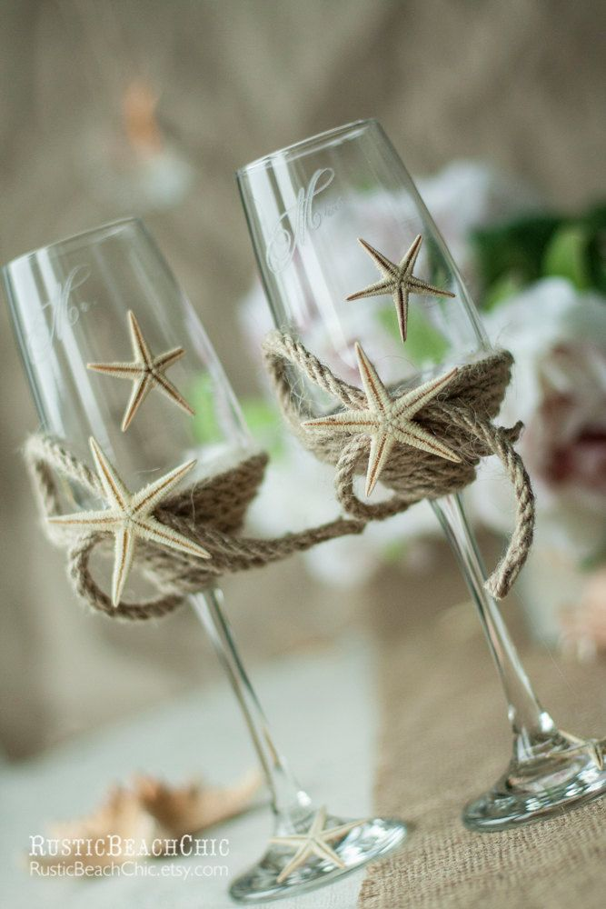 Wedding champagne glasses with rope and starfish! Mr. and Mrs. engraved gift by RusticBeachChic on Etsy https://www.etsy.com/listing/186893117/wedding-champagne-glasses-with-rope-and