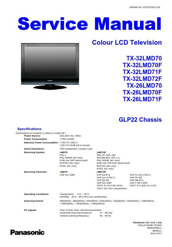 Panasonic Tx 32lmd70 26lmd70 Tv Service Manual And Repair Guide Repair Guide Tv Services Panasonic