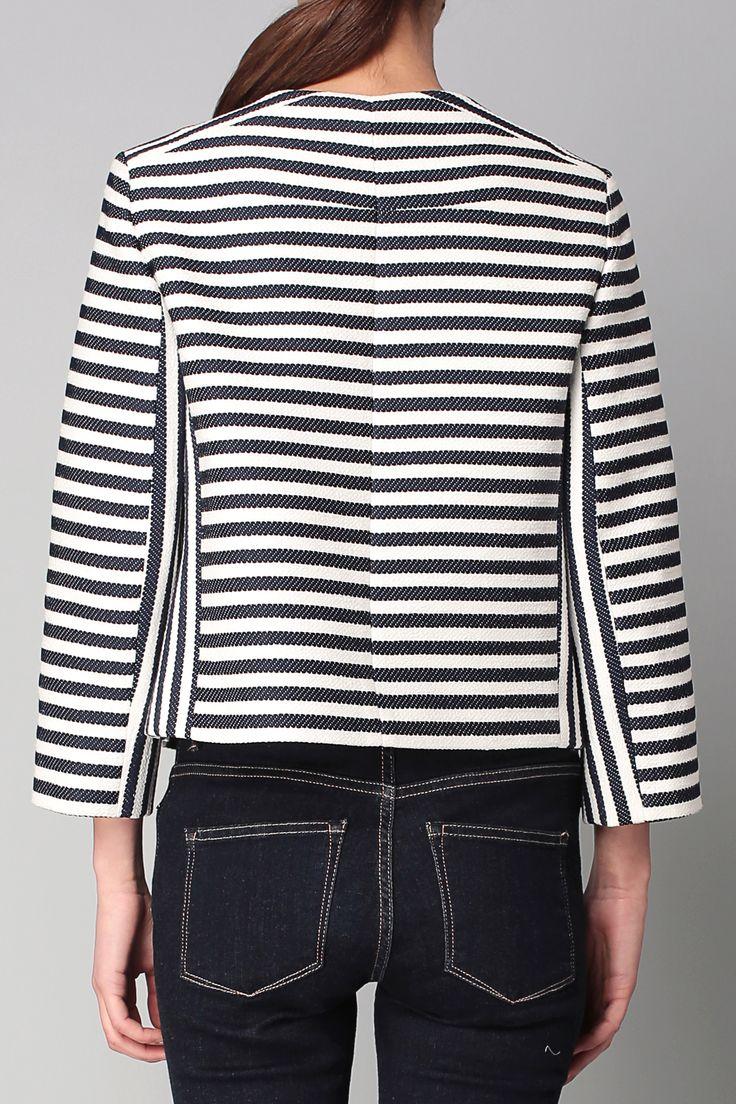 TARA JARMON. Veste rayée bleue et blanche. Coupe ajustée. 8% Polyester 33% Coton 29% Lin