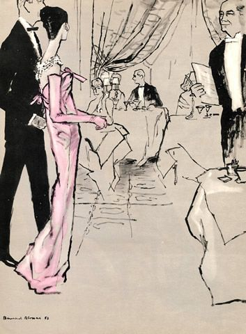 Vintage French Print Givenchy 1957 Blossac Evening Gown Fashion Illustration