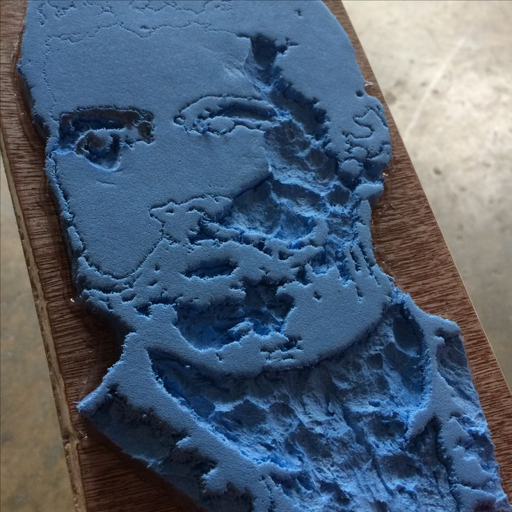 Work in progress print block of Marcelo H. Del Pilar made of rubber glued to a wood board.