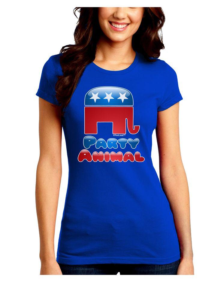 TooLoud Republican Party Animal Juniors Petite Crew Dark T-Shirt
