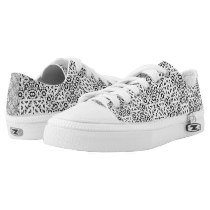 #Black and White Oriental Ornate Low-Top Sneakers - #womens #shoes #womensshoes #custom #cool