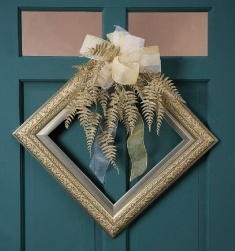 Picture Frame Wreath, love the idea of the diamond shape, but with different decor.