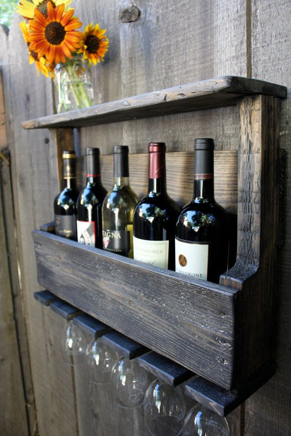 Reclaimed Pallet Wood Rustic Wine Rack Glass Holder with Shelf in Dark Distressed Wash Small Size