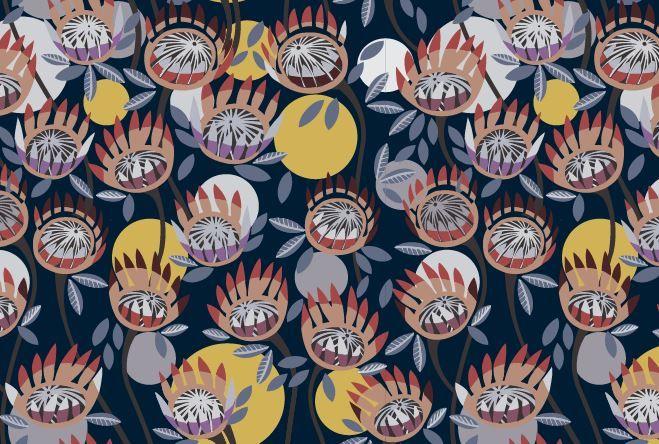 Protearray Navy fabric design entry by Peta Riley Mulla Mulla Designs