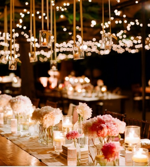 hanging votives and pink peonies