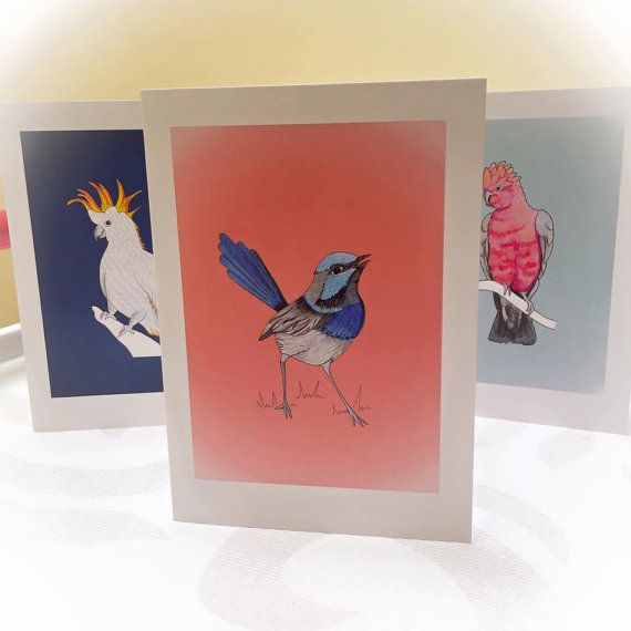 Australian Birds Art Cards Thank you Card by HelloDeerDesigns