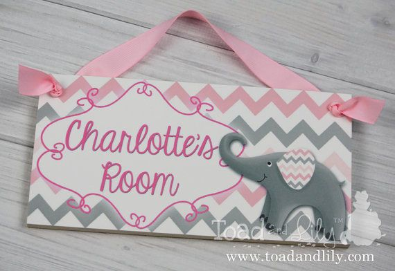 Kids Door Sign Pink Grey Elephant Chevron Baby Nursery Personalized Name Sign
