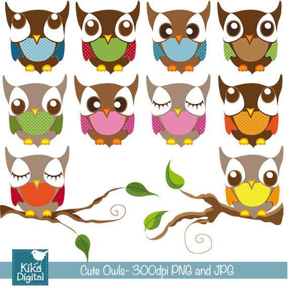 Cute Owls - Digital Clipart / Scrapbooking colorful - card ...