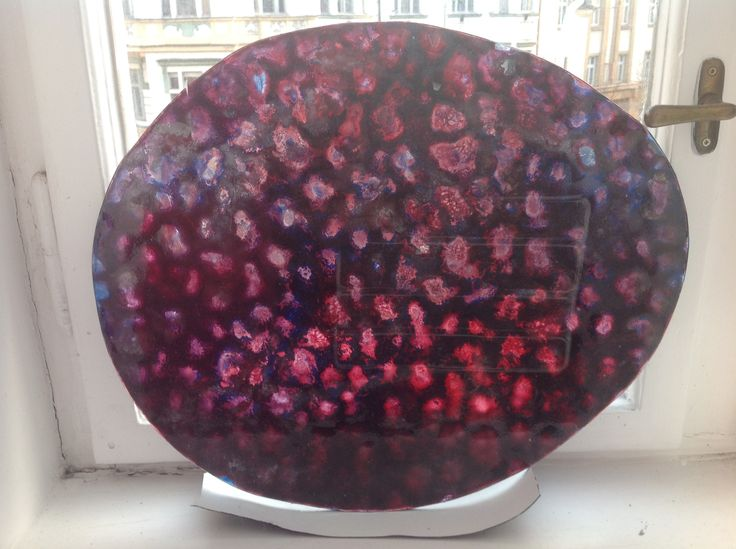 Coloured glass table Made by Tom Budil