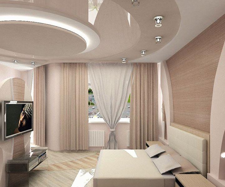 потолки из гипсокартона фото для спальни примеры