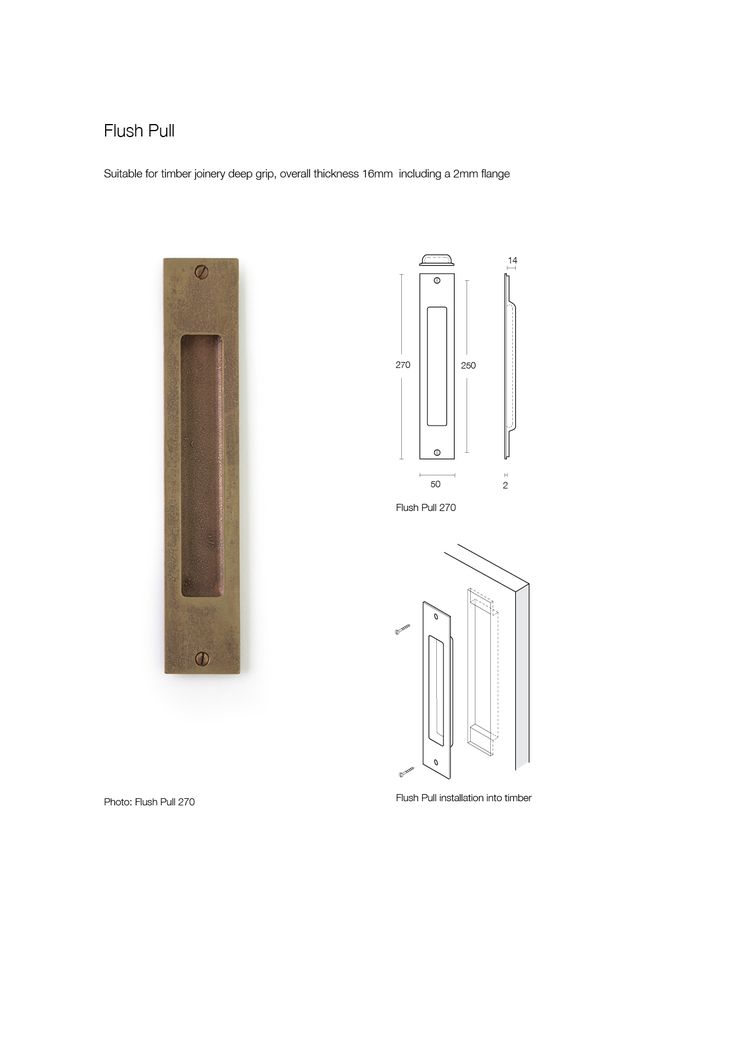 Flush Pull bronze door handle made by Black Sand Bronze with dimensions and fitting instructions