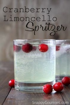 Cranberry Limoncello Spritzer Cocktail Recipe - easy holiday drink! Plus Feast of the Seven Fishes full menu and recipes! SnappyGourmet.com