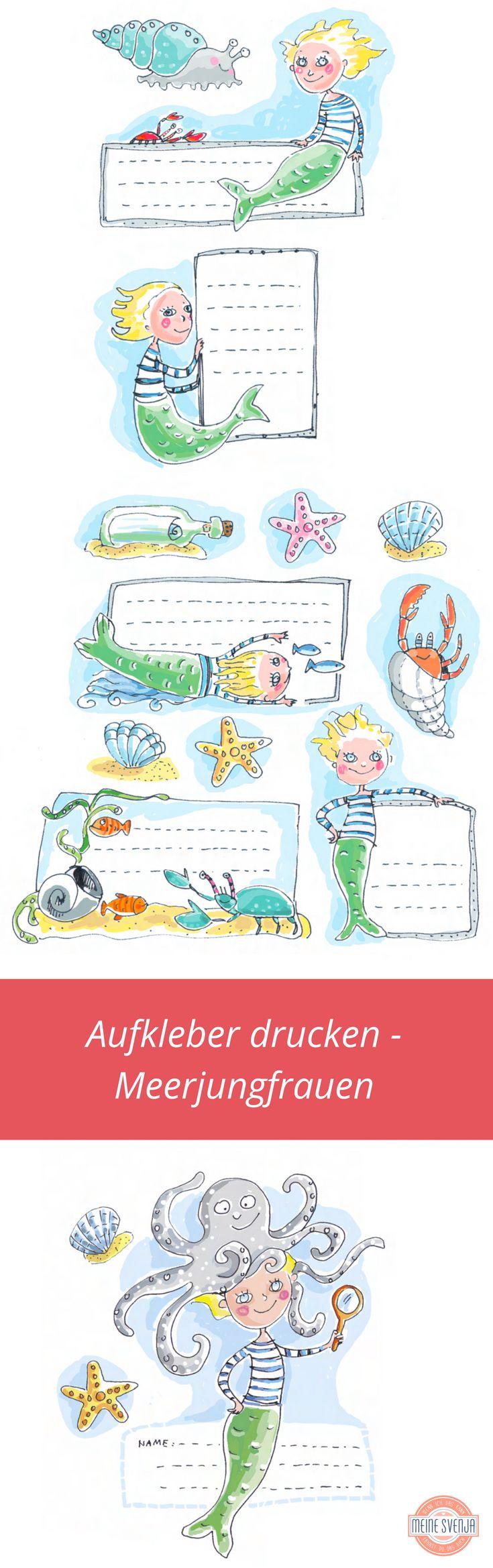 Meerjungfrau Zeichnung Aufkleber drucken als kostenloser Download Meerjungfrauen und Unterwasserwelt als Heftetiketten nutzen