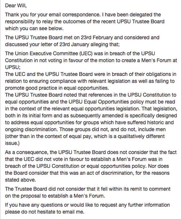 University student tries to set up men's rights group and is banned by student union - https://newsexplored.co.uk/university-student-tries-to-set-up-mens-rights-group-and-is-banned-by-student-union/