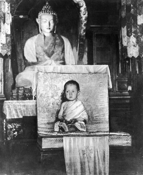 Tenzin Gyatso, The 14th Dalai Lama, as a young child. He was born into a prosperous farming family in Tibet in 1935. He was enthroned as the leader of Tibet in 1950 at the age of 15 and also assumed the role of Tibetan Buddhism's spiritual leader.