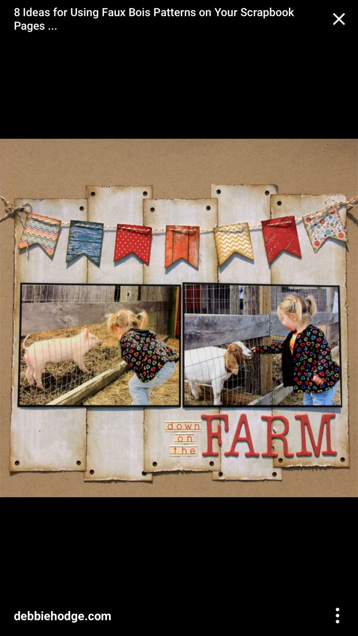 33 creative scrapbook ideas every crafter should know diy projects - Scrapbook Layout 2 Photo Using Faux Bois Patterns Farm