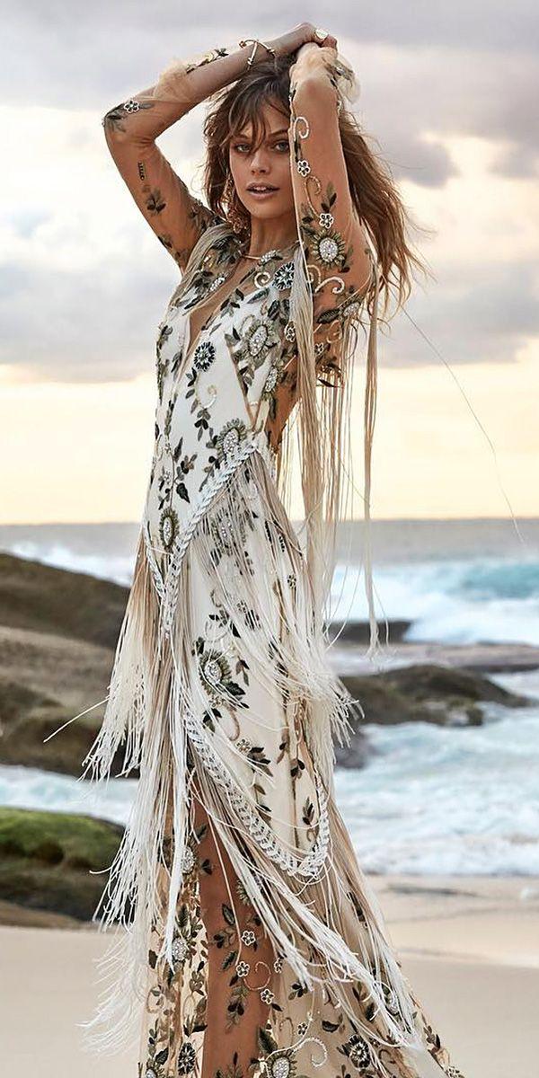 Sparkly Bohemian Rue De Seine Wedding Dresses ❤ rue de seine wedding dresses with illusion long sleeves flutter floral embellishment nude beach ❤ See more: http://www.weddingforward.com/rue-de-seine-wedding-dresses/ #weddingforward #wedding #bride