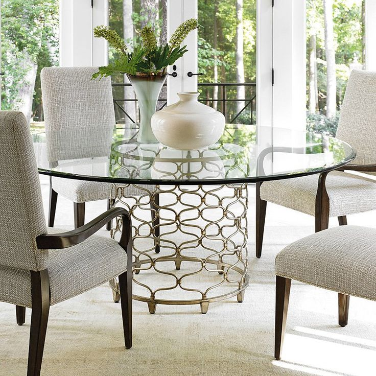 Lexington Home Brands Laurel Canyon Bollinger Round Glass Top Dining Table    Grace Your Dining Room With A Spacious Feel By Adding The Lexington Home  Brands ...