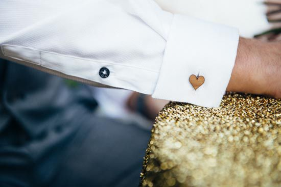 gold styling / groom / unique wooden cufflinks / perth wedding / outdoor ceremony / core cider house / winter wedding / rustic glamour styling  Rustic Winter Orchard Wedding Inspiration featured on Polka Dot Bride captured by Earthbound Images http://www.earthboundimages.com.au