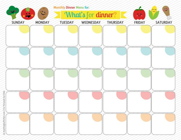 "Monthly meal planner.  Hubby and I are going to give this a try.  Should eliminate the constant question, ""What's for dinner?"""
