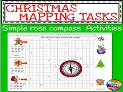 Printable Christmas Activity Rose Compass Plotting Directions Simple Grid Map by mareehenderson21 - Teaching Resources - Tes
