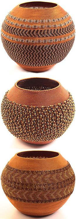 Southern Africa | Wire and glass bead basket from KwaZulu Natal, South Africa. These pot-shaped baskets are created only by masterweavers. F...