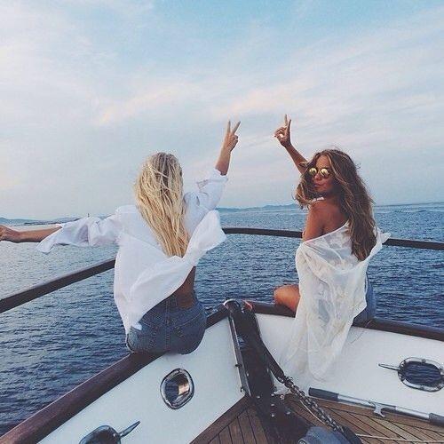 Travel goal. Friends. BFF. Girlfriend. Ocean. Boat. Fashion.